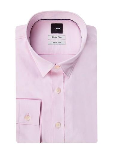 Tween Slim Fit Düz Gömlek Pembe